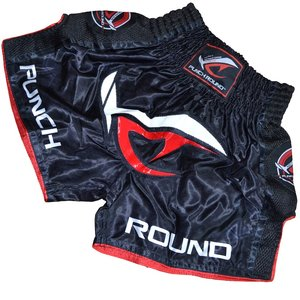 Punch Round™  Punch Round NoFear Muay Thai Kickboxing Short Black Red
