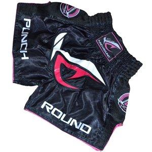 Punch Round™  Punch Round NoFear Damen MuayThai Kickboxing Short Schwarz Rosa