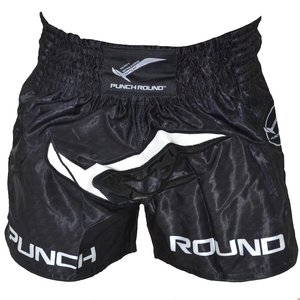 Punch Round™  Punch Round Muay Thai Boxing Shorts NoFear Black White