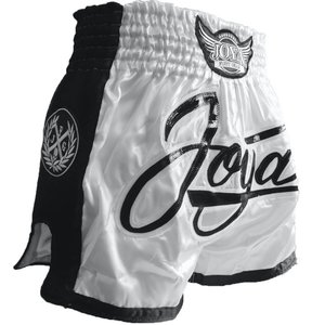 Joya Fight Wear Joya Bangkok Muay Thai Kickboxing Shorts Wit Zwart