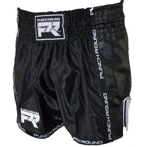 Punch Round™  Muay Thai Shorts Matte Carbon Schwarz Weiss Punch Round Fightwear
