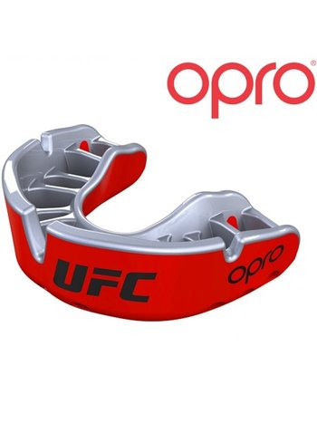 UFC OPRO Gold Mouthguard Red Metal Silver Adult