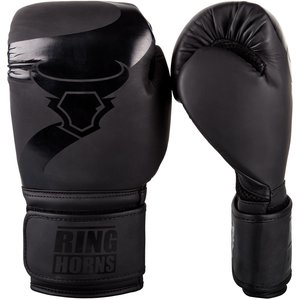 RING HORNS Ringhorns Charger Boxing Gloves Black Black PU Artificial Leather