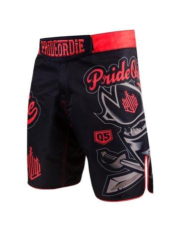 Pride or Die PRIDEorDIE MMA Fight Shorts NO RULES Black Red