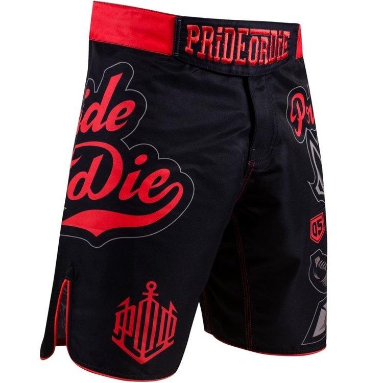 Pride or Die PRIDEorDIE Fightshorts No Rules Zwart Rood