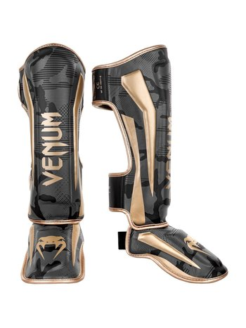 Venum Venum Elite Kickboxing Shinguards Dark Camo Gold