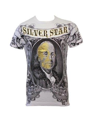 Silver Star Silver Star T-shirts 100 dollar met Foli opdruk Wit