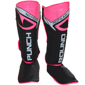 Punch Round™  Punch Round NoFear Kickboxing Shin Guards Black Pink