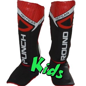 Punch Round™  Punch Round Kids NoFear Kickboxing Shin Guards Black Red