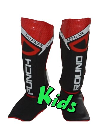 PunchR™  Punch Round Kids NoFear Kickboxing Shin Guards Black Red