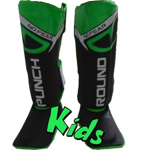 Punch Round™  Punch Round Kids NoFear Kickboxing Shin Guards Black Green