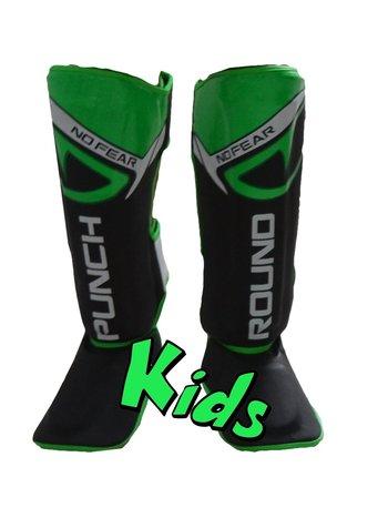PunchR™  Punch Round Kids NoFear Kickboks Scheenbeschermers Zwart Groen