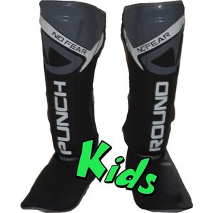 Punch Round™  Punch Round Kids NoFear Kickboxing Shin Guards Black Grey