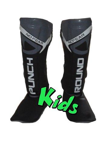 PunchR™  Punch Round Kids NoFear Kickboxing Shin Guards Black Grey