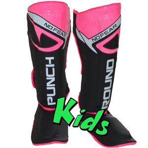 Punch Round™  Punch Round Kids NoFear Kickboxing Shin Guards Black Pink