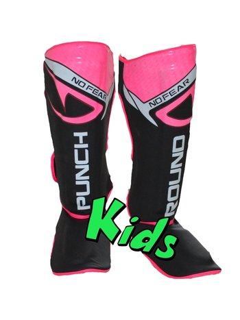 PunchR™  Punch Round Kids NoFear Kickboks Scheenbeschermers Zwart Roze