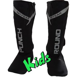 Punch Round™  Punch Round Kids NoFear Kickboxing Shin Guards Black White