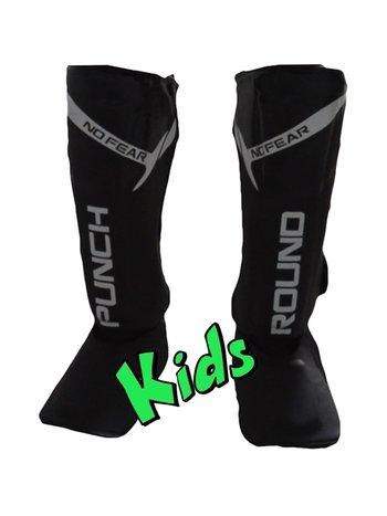 PunchR™  Punch Round Kids NoFear Kickboxing Shin Guards Black White