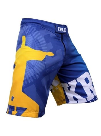 Kraken Fightwear Krakenwear Fight Shorts SFX SERIE Wanna Get Free Blau