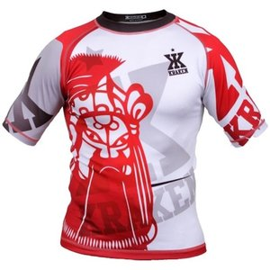 Kraken Fightwear Kraken Wear Rash Guard Das M4SK Rot Weiss