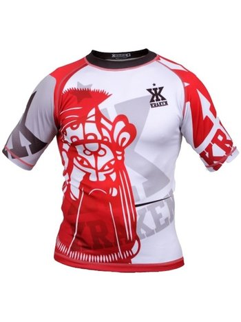 Kraken Fightwear Kraken Wear Rash Guard The M4SK Rood Wit