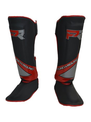 PunchR™  Punch Round Kickboxing Shinguards Evoke Black Red