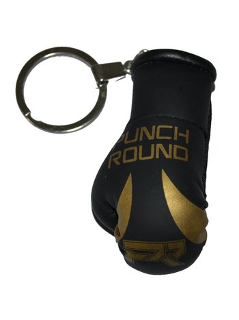 PunchR™  Punch Round Boxing Glove Keyring Black Gold