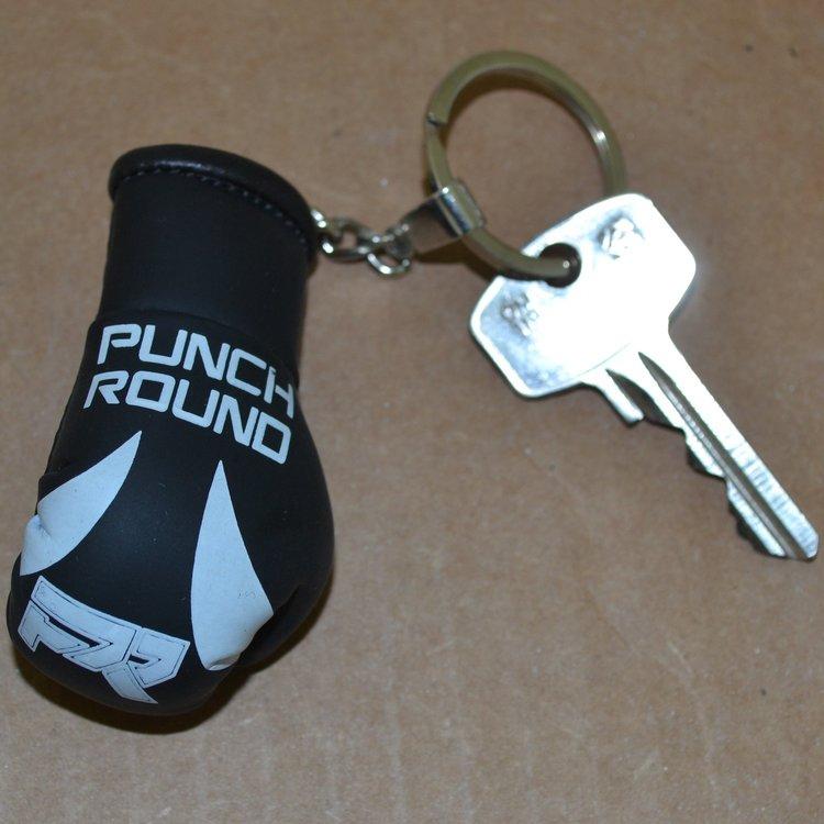 Punch Round™  Punch Round Boxhandschuh Schlüsselring Schwarz Weiss