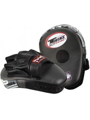 Twins Special Twins Curved Arm Pads Kick Pads TKP 7 Leather Black Grey - Copy