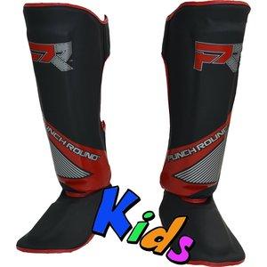 Punch Round™  Punch Round Evoke Kickboxing Schienbeinschoner Kinder Schwarz Rot