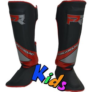 Punch Round™  Punch Round Kids Kickboxing Shinguards Evoke Black Red