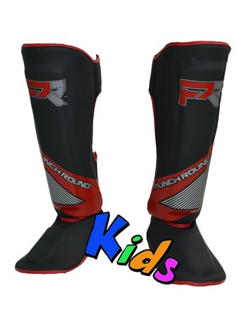 PunchR™  Punch Round Kids Kickboxing Shinguards Evoke Black Red