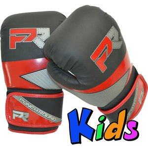 Punch Round™  Punch Round Evoke Boxing Gloves Kids Black Red