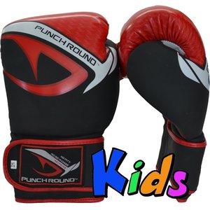 Punch Round™  Punch Round No-Fear Boxhandschuhe Kinder Schwarz Rot