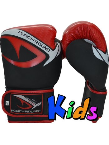 Punch Round™  Punch Round No-Fear Boxing Gloves Kids Black Red