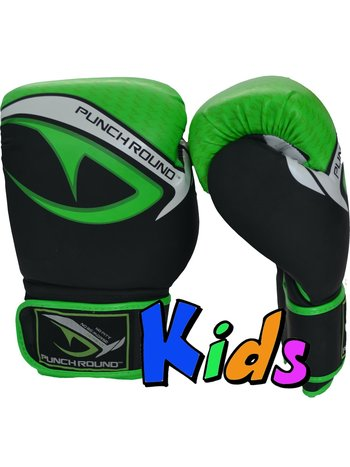 PunchR™  Punch Round No-Fear Boxing Gloves Kids Black Green