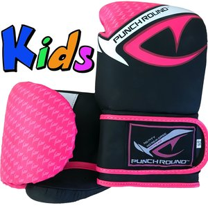 Punch Round™  Punch Round No-Fear Boxing Gloves Kids Black Pink