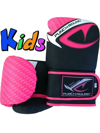 PunchR™  Punch Round No-Fear Boxing Gloves Kids Black Pink