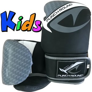 Punch Round™  Punch Round No-Fear Boxing Gloves Kids Black Grey