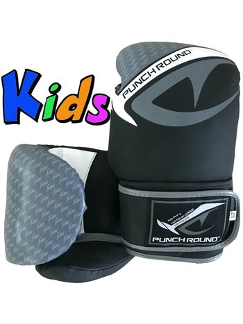 PunchR™  Punch Round No-Fear Boxing Gloves Kids Black Grey
