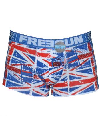 FreeGun Freegun Underwear Great Britain Flag WhiteMen Boxershorts Cotton