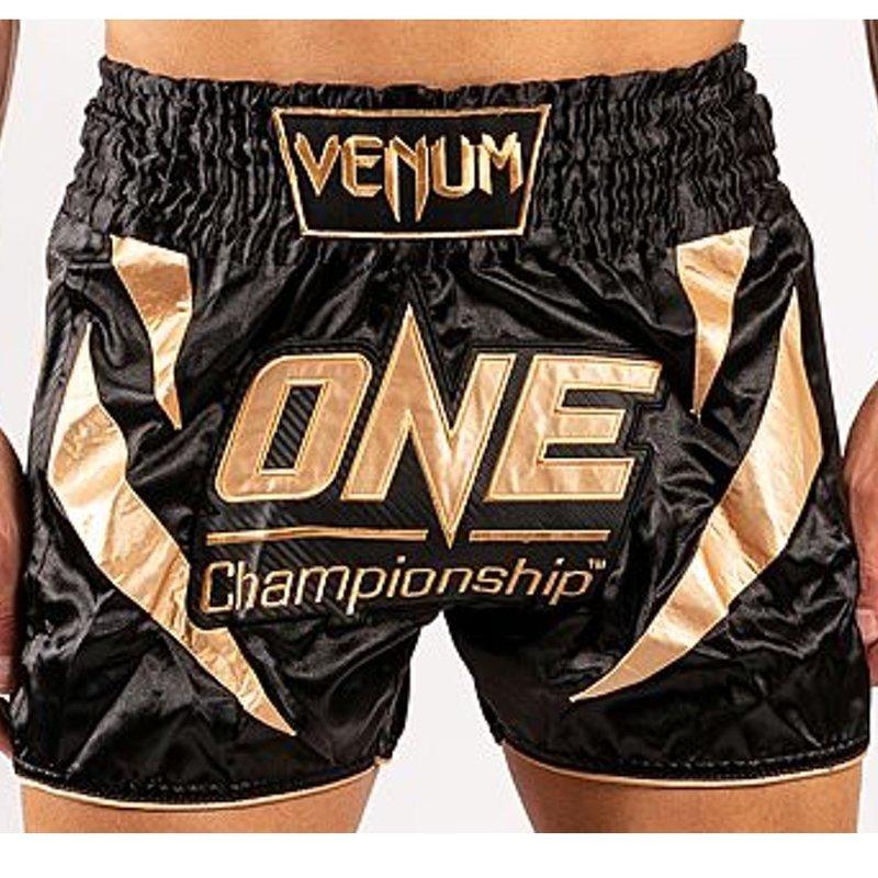 Venum X One Fc Muay Thai Shorts Black Gold Fightwear Shop Europe