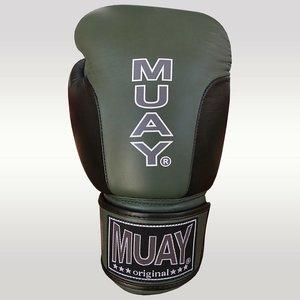MUAY® MUAY® Premium Leder Bokshandschoenen Zwart Army Groen