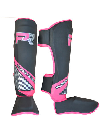 PunchR™  Punch Round Kickboxing Shinguards Evoke Black Pink