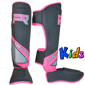 Punch Round™  Punch Round Kids Kickboxing Shinguards Evoke Black Pink