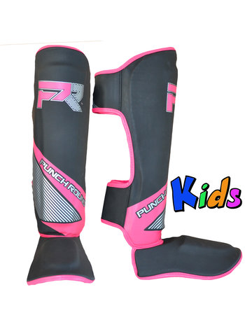 PunchR™  Punch Round Kids Kickboxing Shinguards Evoke Black Pink