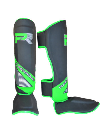 PunchR™  Punch Round Kickboxing Shinguards Evoke Black Green