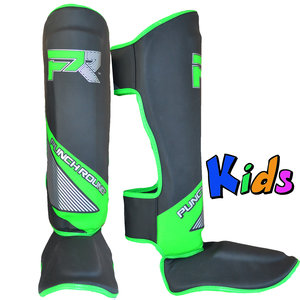 Punch Round™  Punch Round Kids Kickboxing Shinguards Evoke Black Green