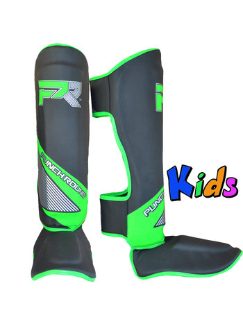 PunchR™  Punch Round Kids Kickboxing Shinguards Evoke Black Green