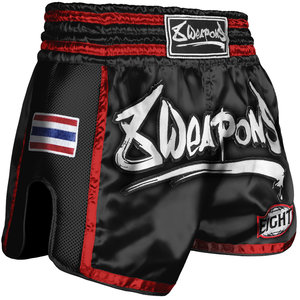 8 Weapons 8 Weapons Muay Thai Short Super Mesh Zwart Rood